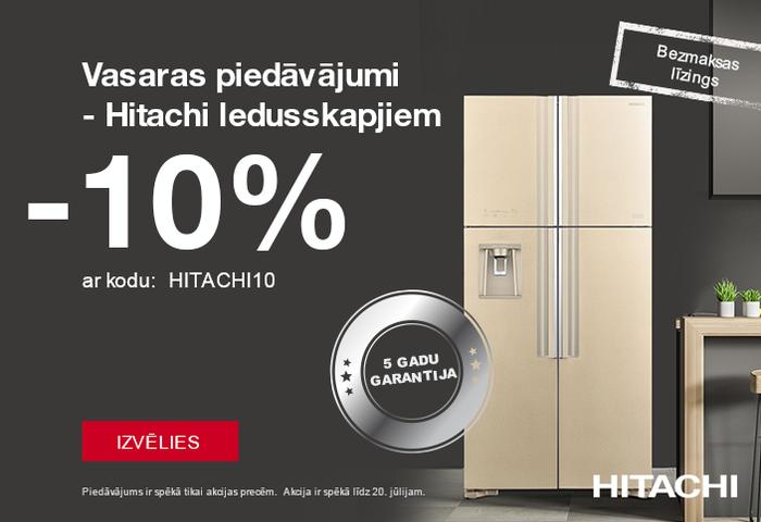 Hitachi ledusskapjiem- 10% ar atlaides kodu. Bezmaksas līzings. 5 gadu garantija.