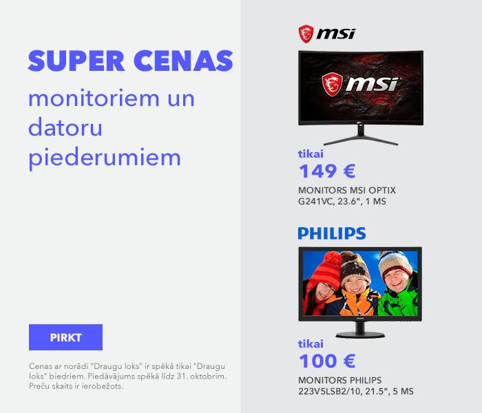 Nepalaid garām mēneša piedāvājumu! Super cenas monitoriem un datoru piederumiem