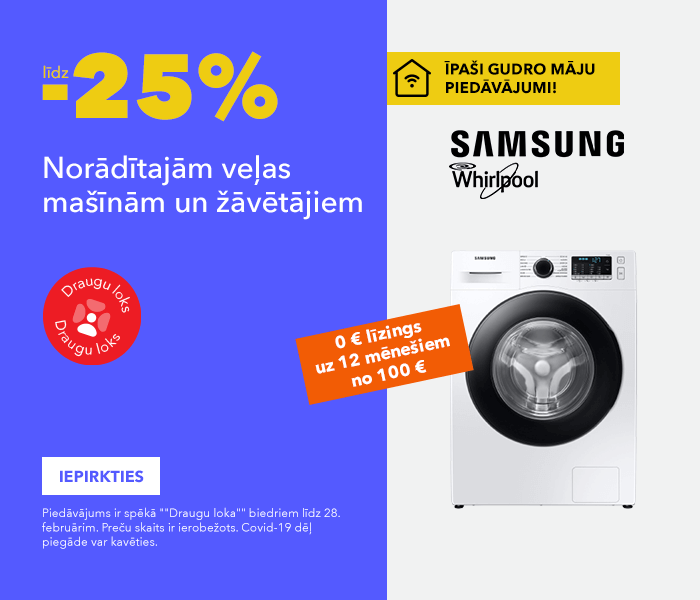 ĪPAŠI GUDRO MĀJU PIEDĀVĀJUMI! Norādītajām veļas mašīnām un žāvētājiem līdz -25%