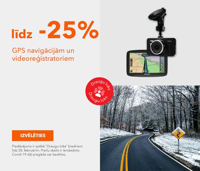 GPS navigācijām un videoreģistratoriem līdz -25%