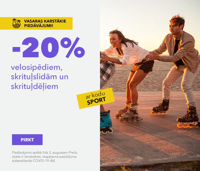 Vasaras karstākie piedāvājumi!-20% velosipēdiem, skrituļslidām un skrituļdēļiem ar kodu SPORT