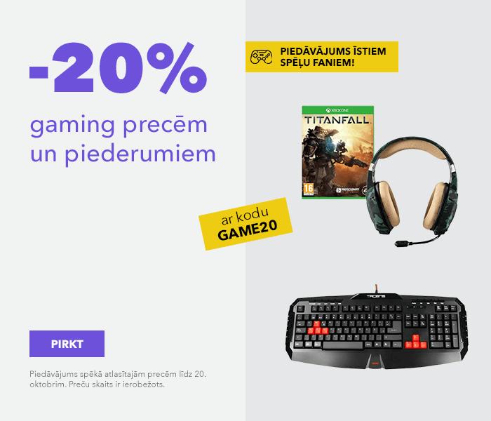 Piedāvājums īstiem spēļu faniem! -20% gaming precēm un piederumiem