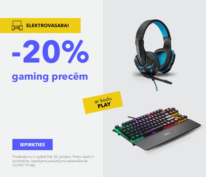 Elektrovasara! Gaming precēm -20% ar kodu PLAY