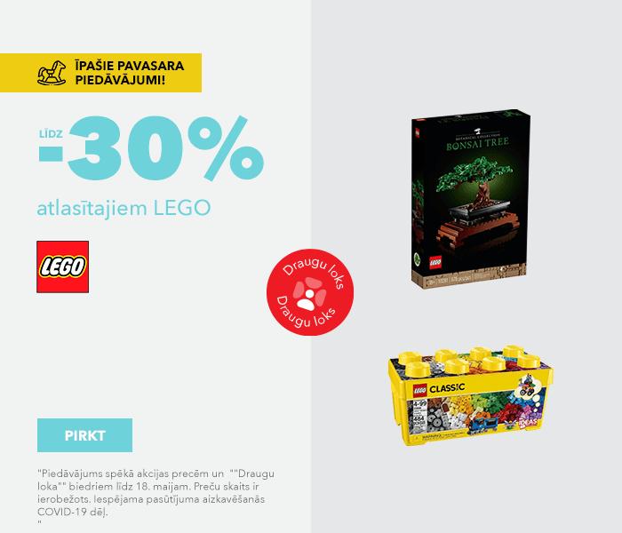 Pavasara īpašie piedāvājumi! līdz -30% atlasītajiem LEGO